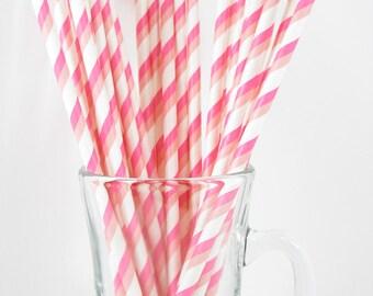 25 Double Pink Stripe Paper Straws | Pink Paper Straws | Pink Party Straws | Pink Stripe Paper Straw | Pink Stripe Straws