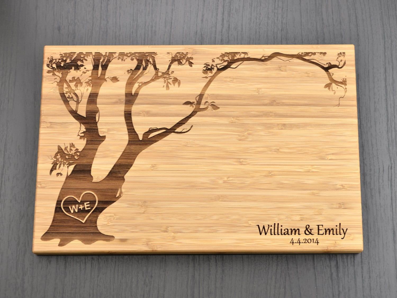 Wedding Gift Cutting Board: Personalized Cutting Board Custom Wedding Gift Love Tree