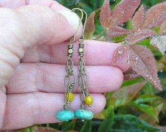 Royston turquoise and saffron faceted czech glass chain dangle earrings. bohemian boho earrings. dainty gemstone earrings. hippie earrings.