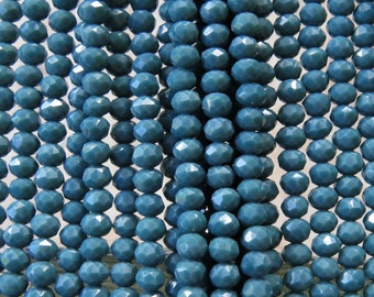 3.5x2.5mm Faceted Opaque Slate Blue Chinese Crystal Rondelle Beads 6 Inch Strand (35CCS14)