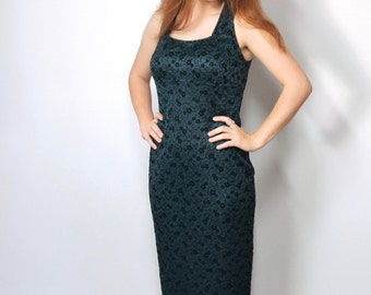 Maxi Dress 1980's Vintage Dress Green Sexy Lingerie Style Sheath Full Length Dress Floral Long Sleeveless Gown Size 7