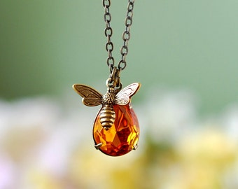 Bee Necklace, Honey Bee Necklace with Swarovski Topaz Honey Drop, Bee Jewelry, Gift for Her, Bee Keeper Bee Lover Gift, mothers day gift