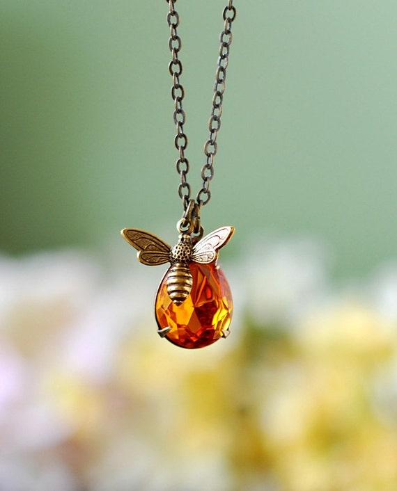 Bee and honey drop necklace bee jewelry honey bee humble bee like this item aloadofball Choice Image