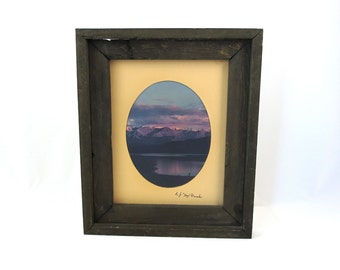 Vintage Sawtooth Mountains Photograph in Handmade Rustic Frame / Redfish Lake Photograph