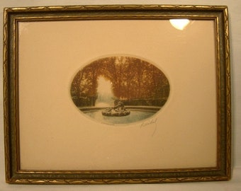 Signed Reidel Versailles Copperplate Etching Engraving 1920s to 1940 Frame