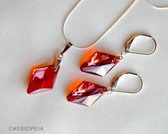 Swarovski Red Crystal Pendant, Red Swarovski Crystal Earrings, Swarovski Red magma necklace,Swarovski Ruby Red Necklace,Crystal Red Earrings