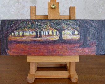 Commission an Original Painting of an autumn sunset in the park, fall colours, gift idea, free shipping