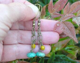 SALE. Royston turquoise and saffron faceted czech glass chain dangle earrings. bohemian earrings. dainty gemstone earrings. hippie earrings.