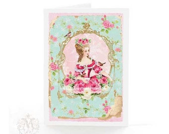 Marie Antoinette card, tea card, pink roses, birthday card, friendship card, all occasion card
