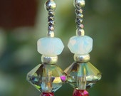 Northern Lights Earrings - Iridescent Czech Glass Beads w Vintage Opalite, Glass & Steel Beads and Handmade Sterling Silver Ear Wires