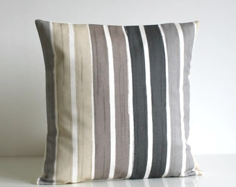 Stripe Pillow Cover, Stripe Cushion Cover, Stripe Pillow Sham, pillow slip, cotton pillow, Gray Pillows, Grey Pillow - Brush Stripes Neutral
