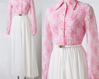 Vintage Maxi Dress, Embroidered Dress, Vintage Pink maxi dress, VIntage Pink Dress, 60s maxi dress, pleated dress - xs/s