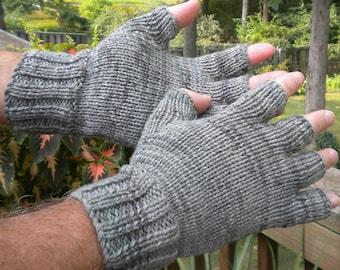 Half Finger Gloves Men's Hand Knit Half Finger Gloves Light Gray Hand-Painted Merino Wool & Nylon Half Finger Gloves Gray Handwarmers Gloves