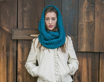 Wool Infinity Scarf // Knit Cowl Scarf // Holiday Gifts for Her // Hooded Loop Scarf // THE MILLIE shown in Turquoise