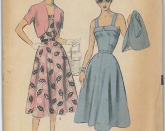 6737 UNCUT 1950's Sun Dress with Bolero JacketSewing Pattern Advance 6737 Bust 30