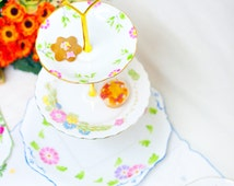 Hand painted Mismatched Vintage Bone China 3 tier cake stand. Pink, green, violet, blue and yellow floral pattern - Beautiful English China