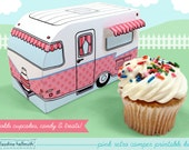 pink retro camper -  cupcake box holds cookies and treats, gift and favor box, party centerpiece printable PDF kit - INSTANT download