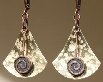 Hammered Brass Earrings African Ethnic Native American Inspired Earrings Metal Earrings Bohemian Earrings Dangle Boho Jewelry