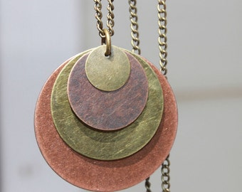 Mixed Metal Pendant Necklace Copper Necklace Pendant Boho Necklace Bohemian Necklace Brass Copper Necklace Pendant Jewelry Gift For Her