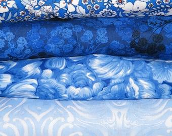 4 FQ Bundle – SHADES of BLUE Floral Prints 100% Cotton Quilt Craft Fabric Fat Quarters