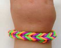Little girl bracelet 74- little girl fashion  rubber bands jewelry for Kids purple orange green.