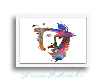 Watercolor Print Johnny Depp Illustration Watercolor Painting Portret Art art Portret Print