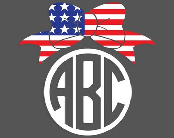 American Flag Bow Monogram - Decal!