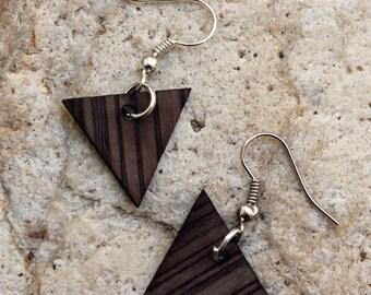 Nakuru. Walnut wood earrings are cut and engraved laser textured Nakuru.