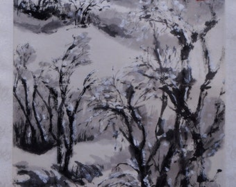Original chinese landscape ink painting, chinese art, mounted chinese brush painting- winter