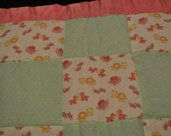 Pink Noah's Ark Baby Blanket - Cotton