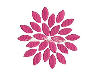 Dahlia Flower Machine Embroidery Design Instant Download