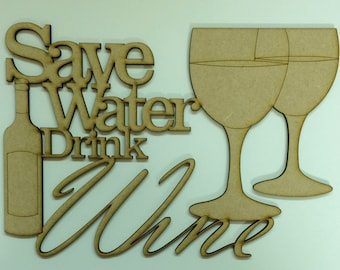 Save water drink wine plaque