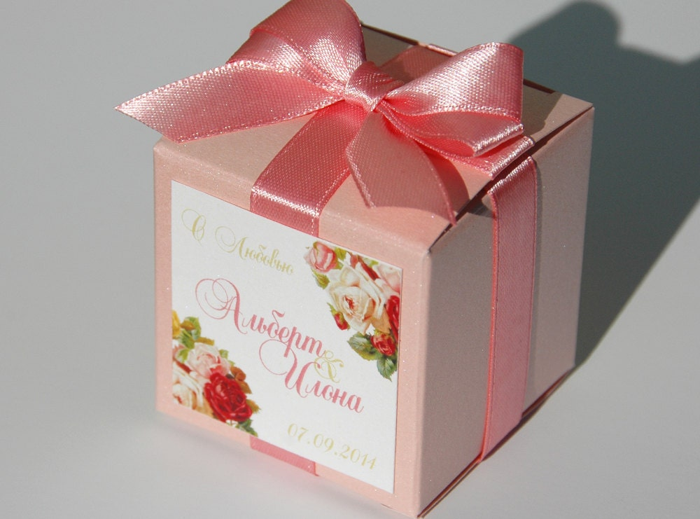 Wedding Gift Boxes: Blush Weddings Favor Candy Gift Box With Satin Ribbon Bow