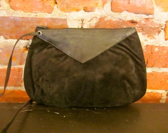Black Vintage Purse- Genuine Leather and Suede- Made in Italy