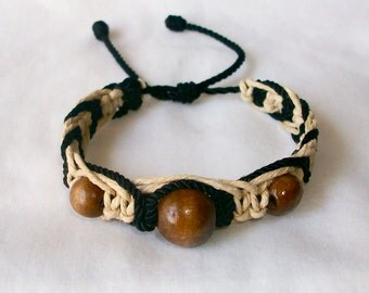 Very NIce Black and Brown Hemp  Macrame Bracelet