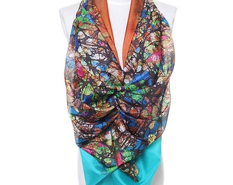 Womens Scarf, Brown Scarf, Orange Scarf,  Blue scarf, Floral Print Scarf, Chiffon Scarf, Voile Scarf, Cotton Scarf, Fashion Scarf