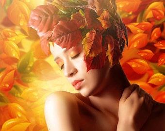 autumn portrait printed on aluminium 3mm wall decoration individual item