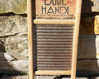 Vintage Mini Wooden and Metal Washboard