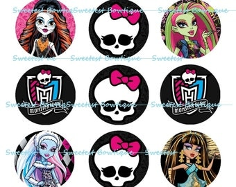 Monster High Instant Download 1 inch bottle cap images