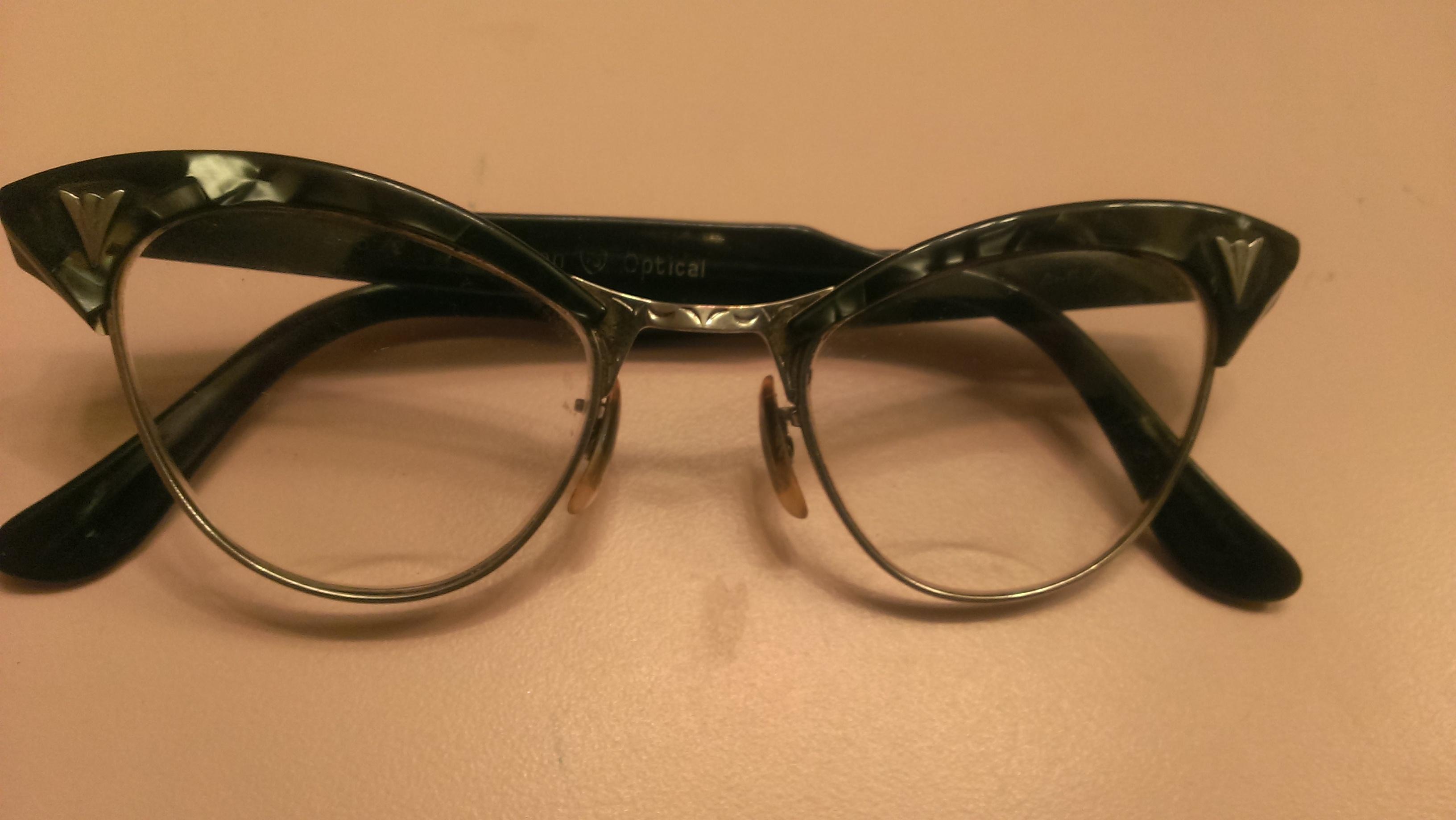 Vintage Cat Eye Glasses Dark Brown 1950s Small by