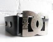 Wide Dolce and Gabbana Charcoal Black Belt with Metal Hardware. Large Black leather belt. Vintage Dolce and Gabbana belt.