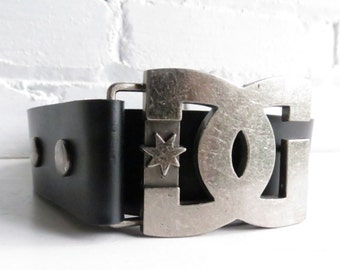 Wide Charcoal Black Belt with Metal Hardware.