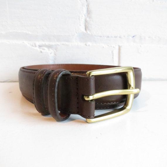 vintage brown leather lands end belt with solid brass