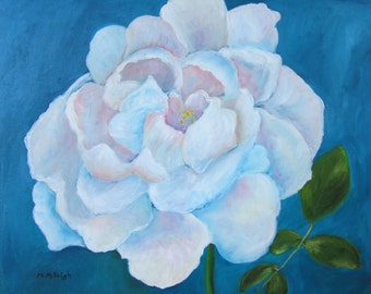 The Painted Rose-Original oil painting of a white rose blossom