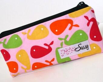 Pink Whale Fabric Makeup Bag, Small Size Cosmetic Bag, Travel Make up Bag, Lined Makeup Bag