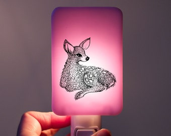 Fawn Nightlight on Lavender Fused Glass Night Light - Gift for Baby Shower or Nature Lover - Spring Pastel Colors