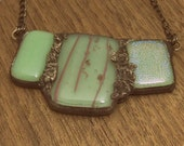 Mint Green and Pink Fused Glass Trio Pendant