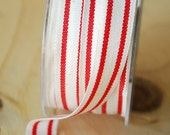 French Stripe Ribbon in Red and Natural Cotton Ribbon 5 Yards Vintage Style Ribbon Twill Tape