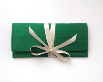 Emerald green clutch in silk with champagne bow, the ALEXIS Clutch // a slim formal envelope clutch bag