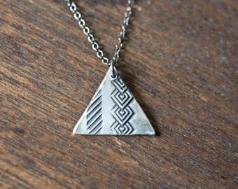 geometric triangle necklace - geometric necklace - triangle two necklace - triangle jewelry - triangle pendant - silver triangle necklace